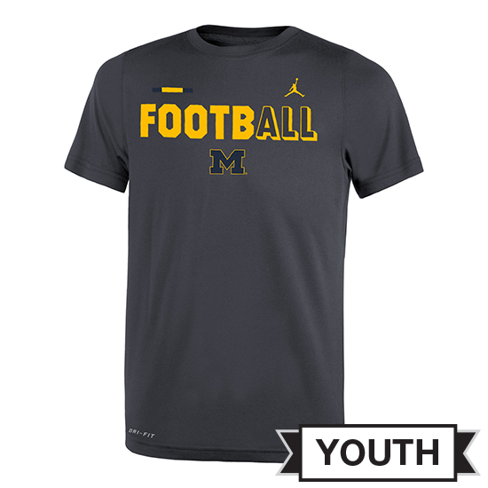 Jordan University of Michigan Football Youth Anthracite FootbALL DNA Dri-FIT Legend Tee