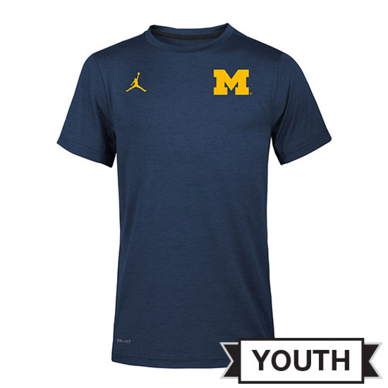 Jordan University of Michigan Football Youth Navy Dri-FIT Touch Coaches Tee