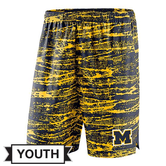 Nike University of Michigan Youth Navy/Yellow Shield Performance Shorts