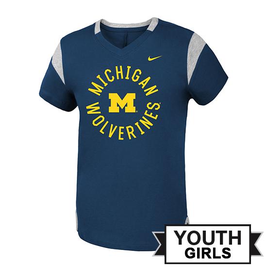 Nike University of Michigan Youth Girls Navy Modern Fan V-Neck Tee
