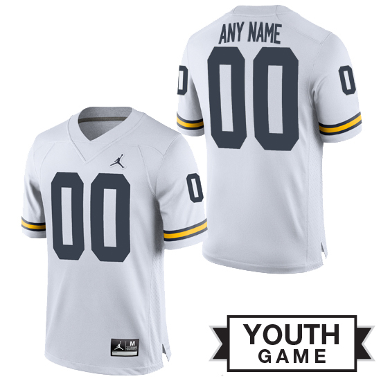 Jordan University of Michigan Football Youth White Custom Game Jersey