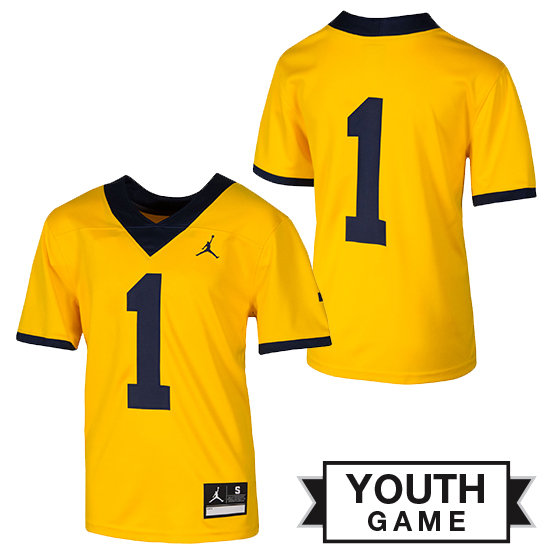 43d181c3d81d Jordan University of Michigan Football Youth Maize  1 Game Alternate Jersey