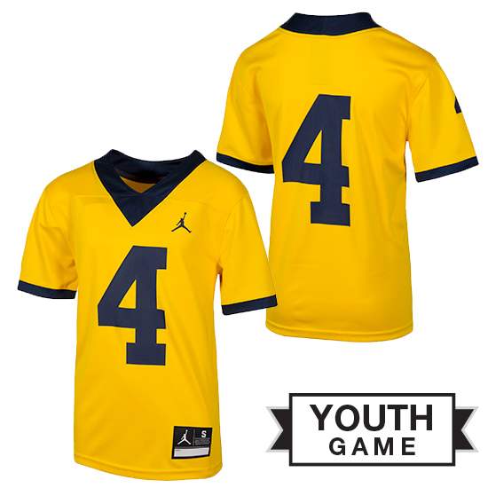 615b0d6931c Jordan University of Michigan Football Youth Maize  4 Game Alternate Jersey.  Product Thumbnail Product Thumbnail Product Thumbnail