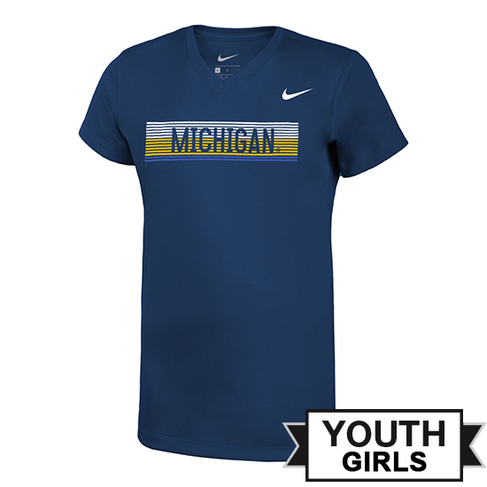 Nike University of Michigan Youth Girls Heather Navy Dri-FIT Legend V-Neck Tee