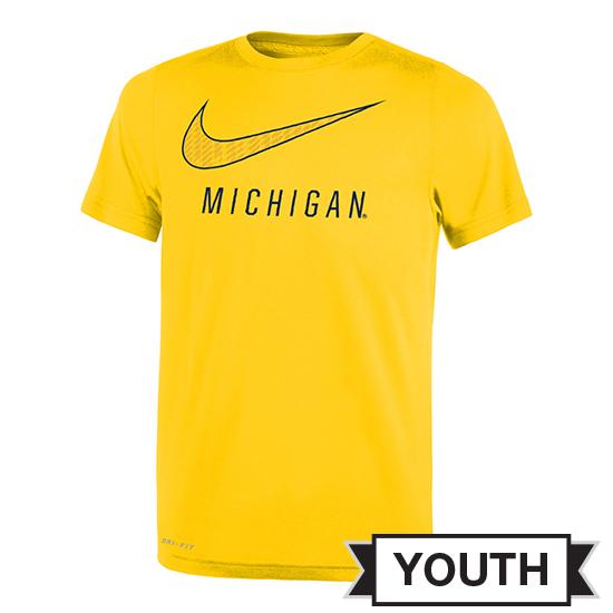 Nike University of Michigan Youth Yellow ''Swoosh'' Dri-FIT Legend Tee
