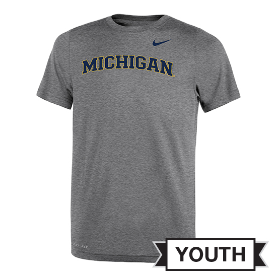 Nike University of Michigan Youth Gray Basic Dri-FIT Legend Tee