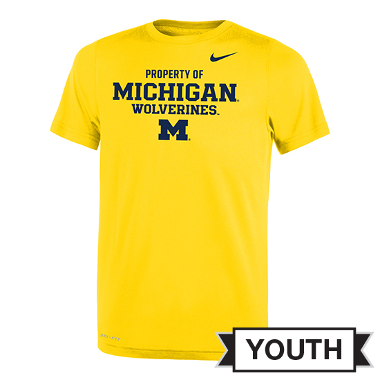 Nike University of Michigan Youth Yellow ''Property of Michigan'' Dri-FIT Legend Tee