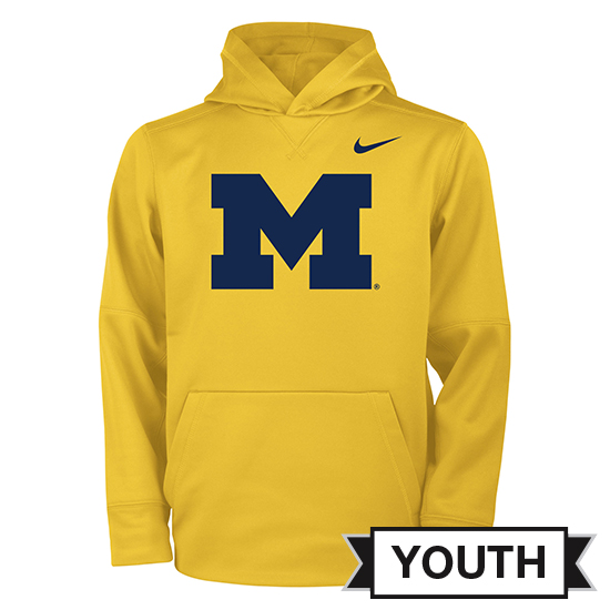 Nike University of Michigan Youth Yellow Block ''M'' Logo Therma-FIT Hooded Sweatshirt