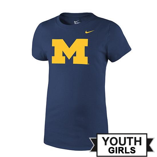 Nike University of Michigan Youth Girls Navy Block ''M'' Logo Tee