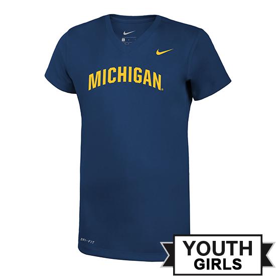 Nike University of Michigan Youth Girls Navy Basic Dri-FIT Legend V-Neck Tee