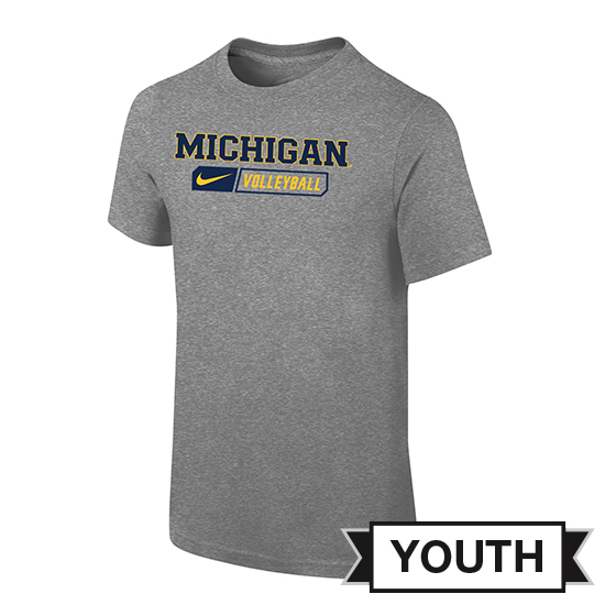 Nike University of Michigan Volleyball Youth Gray Sport Tee
