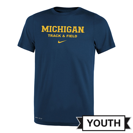 Nike University of Michigan Track & Field Youth Navy Dri-FIT Legend Tee