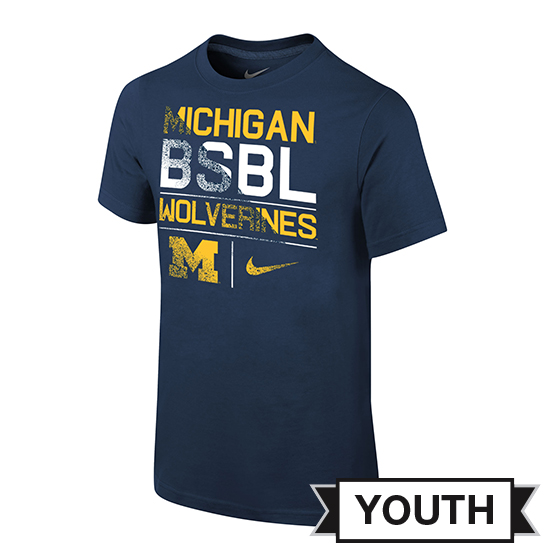 Nike University of Michigan Baseball Youth Navy ''BSBL'' Tee