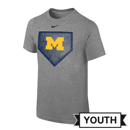 Nike University of Michigan Baseball Youth Gray ''Homeplate'' Tee