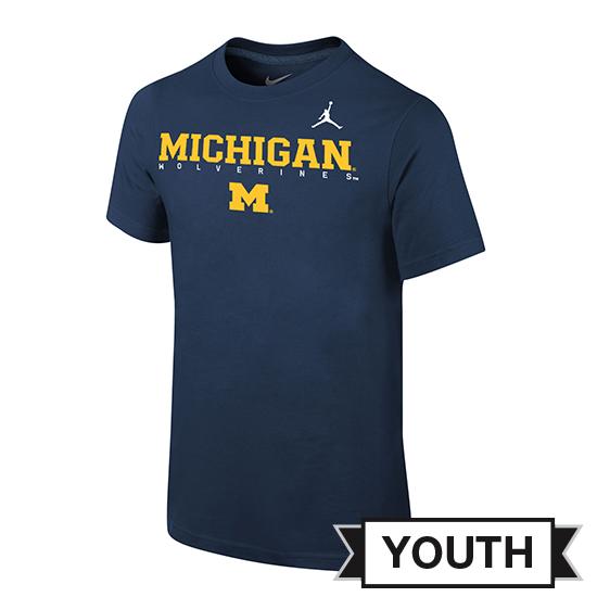Jordan University of Michigan Football Youth Navy Facility Tee