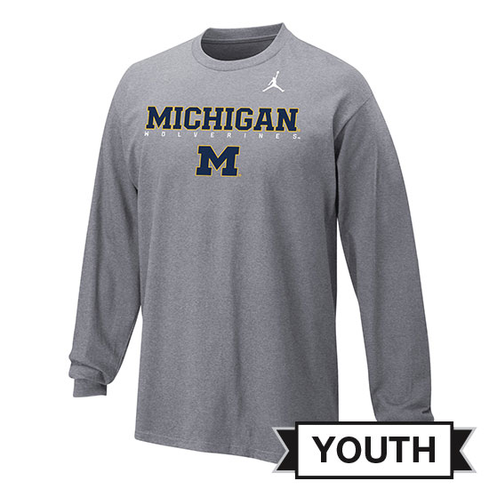 Jordan University of Michigan Football Youth Gray Long Sleeve Facility Tee
