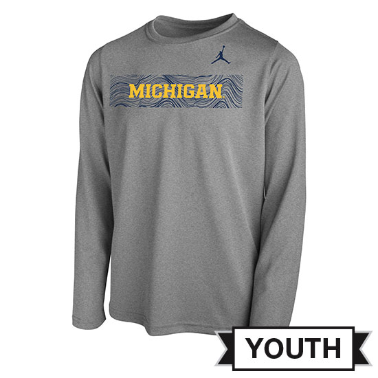 Jordan University of Michigan Football Youth Gray Long Sleeve Sideline Dri-FIT Legend Tee
