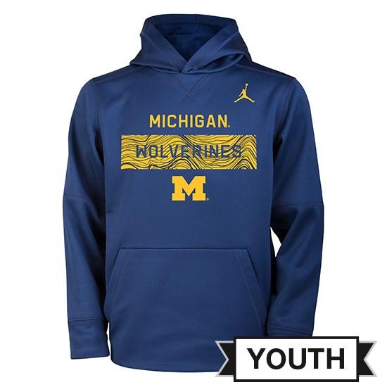 Jordan University of Michigan Football Youth Navy Staff Sideline Therma-FIT Hooded Sweatshirt