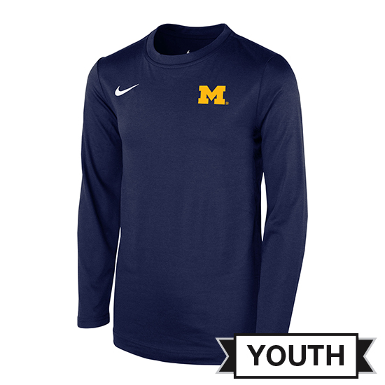 Nike University of Michigan Football Youth Coaches Navy Dri-FIT Touch Long Sleeve Tee