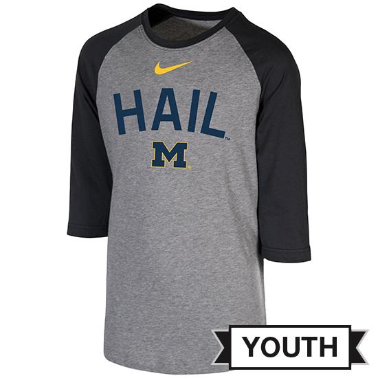 Nike University of Michigan Youth Gray/ Dark Heather Gray 3/4 Raglan Sleeve Tee