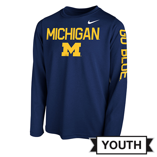 Nike University of Michigan Youth Navy Long Sleeve Dri-FIT Legend Core Tee