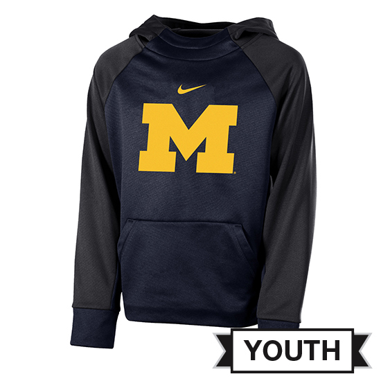 Jordan University of Michigan Youth Navy/ Anthracite Color Block Therma-FIT Hooded Sweatshirt
