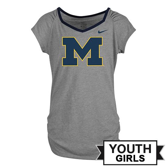 Nike University of Michigan Youth Girls Gray Raglan V-Neck Tee