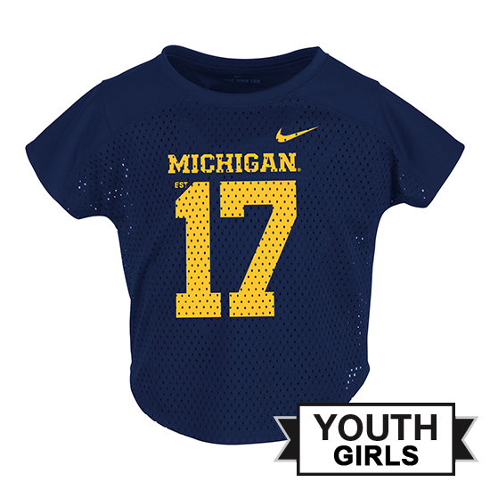 Nike University of Michigan Football Youth Girls Navy Modern Fan Jersey Top