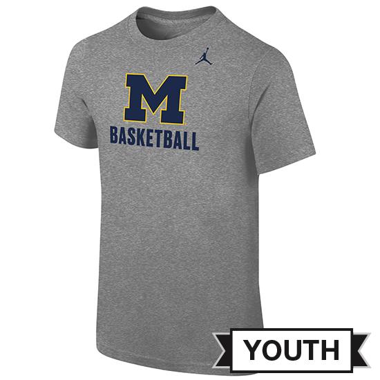 Jordan University of Michigan Basketball Youth Gray Logo Tee