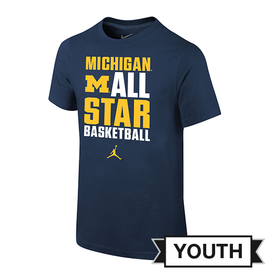 Jordan University of Michigan Basketball Youth Navy ''All Star'' Tee