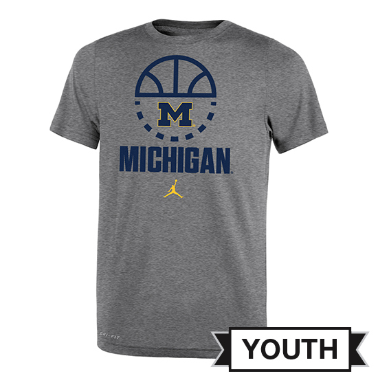 Jordan University of Michigan Basketball Youth Heather Gray Dri-FIT Tee