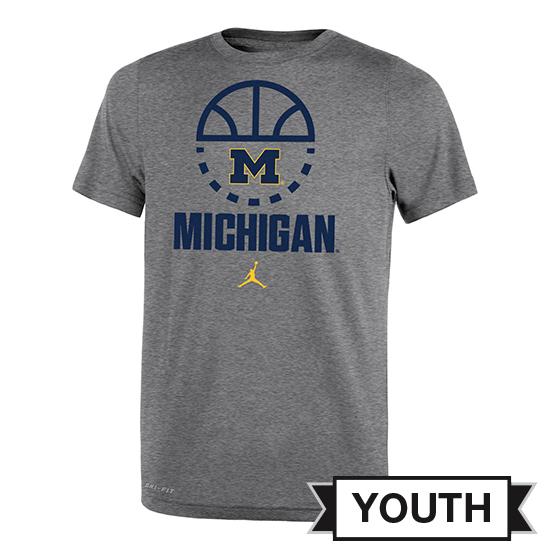Jordan University of Michigan Basketball Youth Heather Gray Dri-FIT Tee