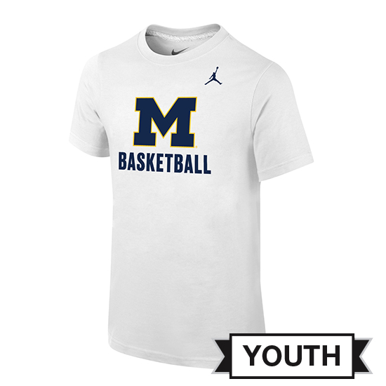Jordan University of Michigan Basketball Youth White ''Name Drop'' Tee