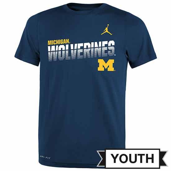 Jordan University of Michigan Football Youth Navy Dri-FIT Legend Sideline Tee