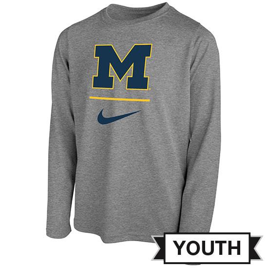 Nike University of Michigan Youth Gray Long Sleeve Dri-FIT Legend Sideline Tee
