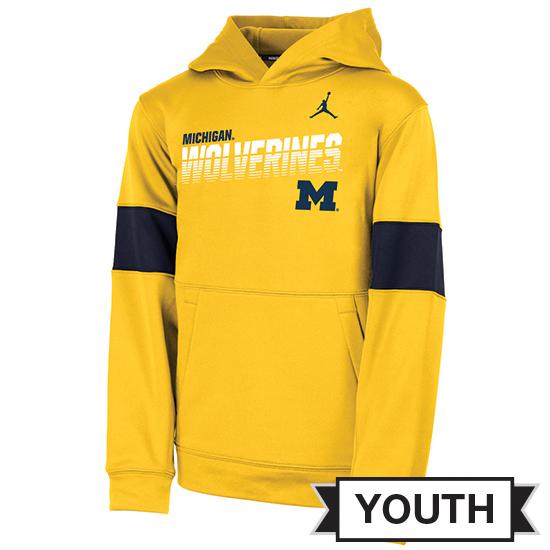 Jordan University of Michigan Football Youth Maize Sideline Therma-FIT Hooded Sweatshirt