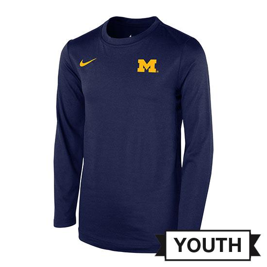 Nike University of Michigan Youth Navy Modern Crewneck Sweatshirt