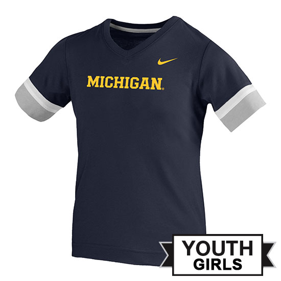 Nike University of Michigan Youth Girls Navy Fan V-Neck Tee