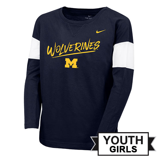 Nike University of Michigan Youth Girls Navy Long Sleeve Fan Tee