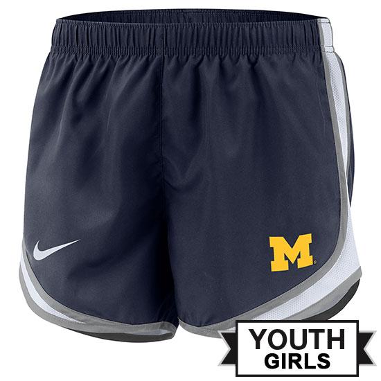 Nike University of Michigan Youth Girls Navy Tempo Shorts