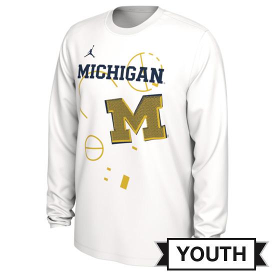 Jordan University of Michigan Basketball Youth 2020 White Long Sleeve Dri-FIT Tournament Bench Tee