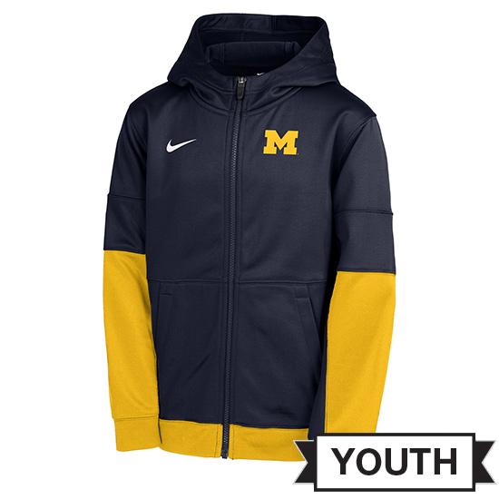 Nike University of Michigan Youth Navy/Yellow Full Zip Therma-FIT Hooded Sweatshirt