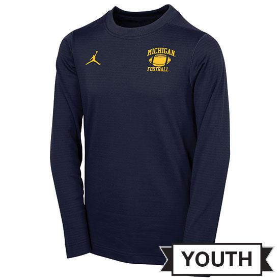 Jordan University of Michigan Football Youth Navy Head Coaches Modern Crewneck Sweatshirt