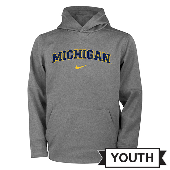 Nike University of Michigan Youth Dark Heather Gray Therma-FIT Hooded Sweatshirt