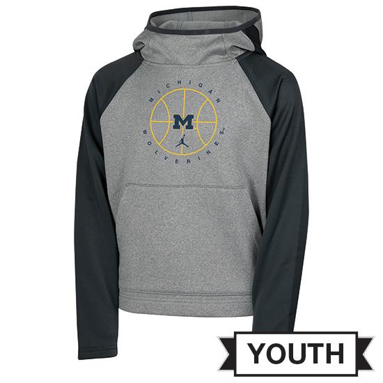 Jordan University of Michigan Basketball Youth Gray/Anthracite Spotlight Therma-FIT Hooded Sweatshirt