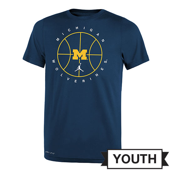 Jordan University of Michigan Basketball Youth Navy Dri-FIT Legend Practice Tee