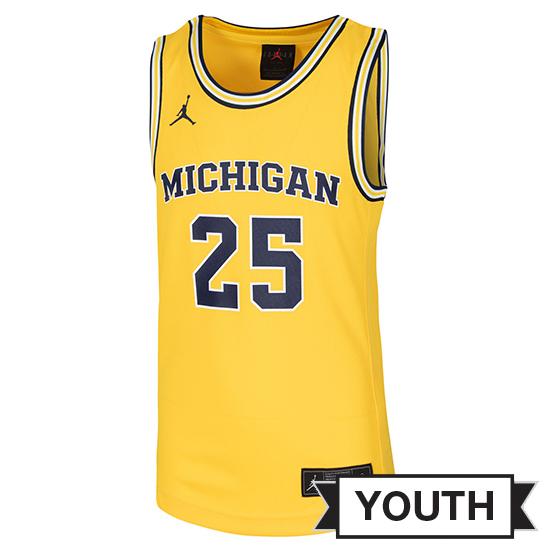 Jordan University of Michigan Basketball Youth Maize Replica #25 Jersey