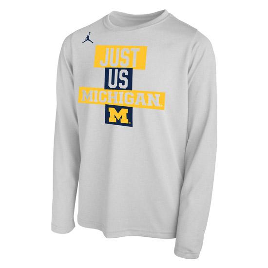Jordan University of Michigan Basketball Youth 2021 Tournament Dri-FIT Legend Long Sleeve Bench Tee