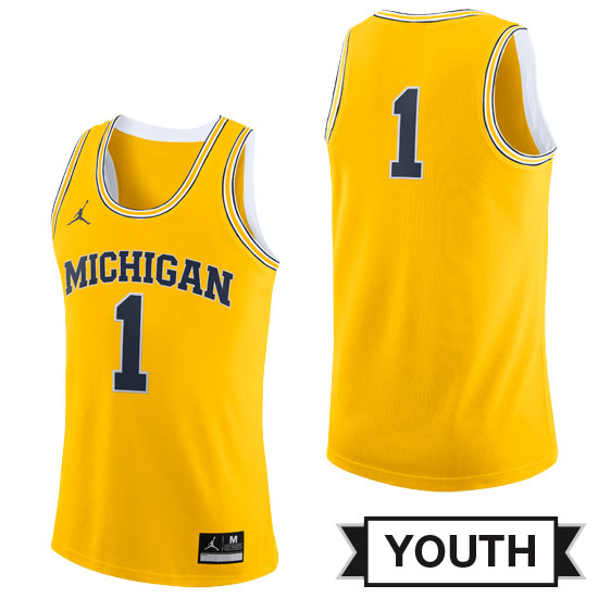 Jordan University of Michigan Basketball Youth Yellow #1 Replica Jersey