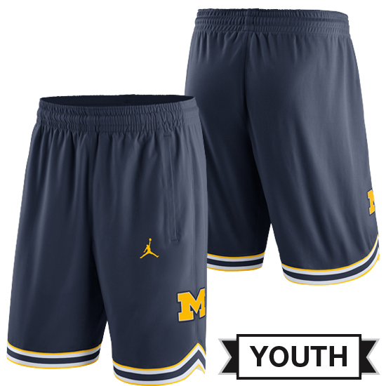Jordan University of Michigan Basketball Youth Navy Replica Shorts